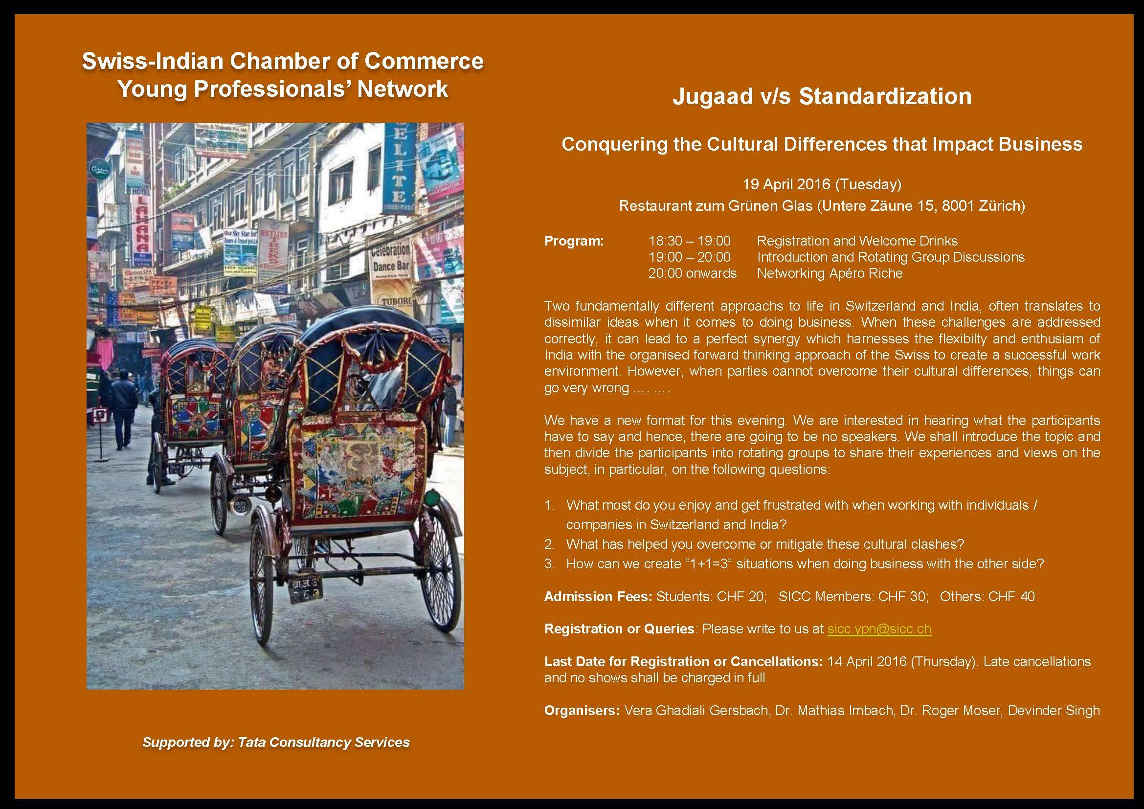 SICC YPN Invitation (19 April 2016) - Jugaad v Standardization
